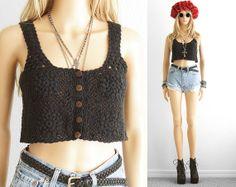 Crochet Crop Top Crochet Tank Top Crop Top Hipster Crop Top Grunge Lace Crochet Crop Top Lace Crop Top Tank Crop Top Boho Festival xs s