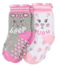 Ergee - Socken - Maus, Katze, ABS-Druck - 2er-Pack