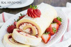 Strawberries and Cream Swiss Roll