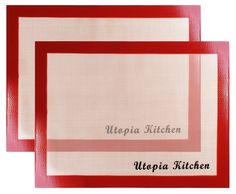 Silicon Mat for Baking and Cooking - 2 Pack - Red - Professional Grade Non-stick - Best for Cookies, Pizzas, Pretzels and More - By Utopia Kitchen >>> Find out more details @ : Baking Accessories