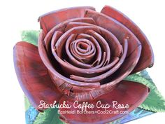 Rose created from Starbucks Coffee Cup; cool DIY tutorial from EcoHeidi for Cool2Craft