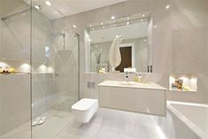 with inset spotlights lighting Bright You are in the right place about brass bathroom lighting Here we offer you the most beautiful pictures about the b 3 Bedroom Apartment, Contemporary Bathroom, Dark Bathrooms, Interior, Lighted Bathroom Mirror, Shower Room, Bathroom Mirror, Contemporary Bathroom Lighting, Bathroom