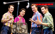 October 2015 Oh, What a Decade–Why Jersey Boys Has Made it 10 Years on Broadway! Tony winner John Lloyd Young (second from left) as Frankie Valli with Matt Bogart, Quinn VanAntwerp, & Andy Karl in 'Jersey Boys' (Photo: Joan Marcus) John Lloyd Young, Tony Winners, Frankie Valli, Jersey Boys, October 4, Boy Photos, A Decade, 10 Years, Musicals