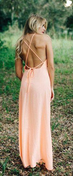 Bright Coral Peach Maxi Dress