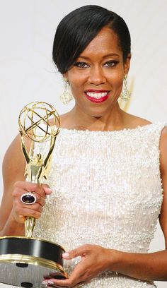 "Regina King celebrates her Emmy for best supporting actress in a limited series or a movie for ""American Crime."""