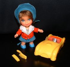 Vintage Liddle Kiddles BABE BIDDLE Kiddle Doll with Car Scarf and Original outfit - Original 24 Kiddle Collection - Vintage 43 Year Old Doll. $40.00, via Etsy.