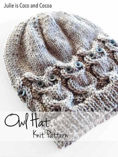 Owl Hat Knit Pattern from Julie is Coco and Cocoa