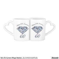 60th Wedding Anniversary Gifts Traditional Diamond Mugs Set CLICK