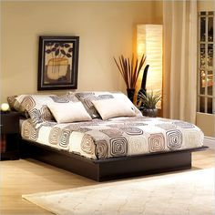 South Shore Back Bay Platform Bed Frame Only in Dark Chocolate Finish - Choose stylish simplicity for your modern minimalist bedroom. Clean, bold lines and a rich dark finish make the Back Bay Platform Bed ideal for many trendy contemporary room themes.