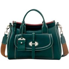 Dooney & Bourke Florentine Toscana Front Pocket Satchel (22.410 RUB) ❤ liked on Polyvore featuring bags, handbags, green, green purse, leather purses, green leather handbag, top handle handbags and leather satchel handbags