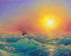 Evening in the Pacific  8x 10 original oil by vladimirmesheryakov, $249.99