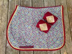 Petit Floral Print Saddle Pad with Gold Bling and Matching Polo Wraps at thebarncloset.com