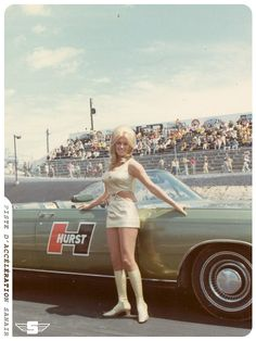 """Linda Vaughn, the legendary """"Miss Hurst Golden Shifter"""" Linda Vaughn, the lovely, leggy, legend of the auto racing scene from the through the early was better know… Rat Rods, Nhra Drag Racing, Auto Racing, Linda Vaughn, Automobile, Hurst Shifter, Ford, Chevelle Ss, Chevy Camaro"""