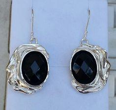 Onyx Silver Earrings Sterling Silver 925 Dangle by TalyaDesign