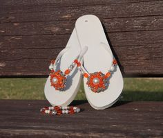 Summer set  beaded flip flops with anklet in by NevelynkaNasha, $53.00