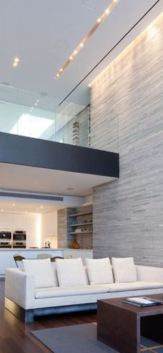 Stone Feature Wall with intersecting floor and ceiling lighting. #beautiful #creative #lovely #walldesign