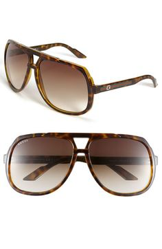 Gucci Logo Temple Aviator Sunglasses available at #Nordstrom