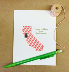 Happy Holidays from San Francisco Greeting Card by Chunky Pineapple on Etsy