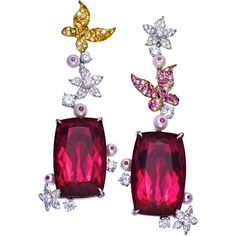 Anne Hu Rubellite Earrings with Sapphire and Diamond Butterflies Red Jewelry, Gemstone Jewelry, Jewelery, Fine Jewelry, Unique Jewelry, Jewelry Ideas, Tourmaline Earrings, Ruby Earrings, Pink Tourmaline