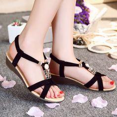 Sale 16% (11.95$) - New Summer Women Bohemian Metal Olivet Wedges Platform Low Heels Sandals Shoes