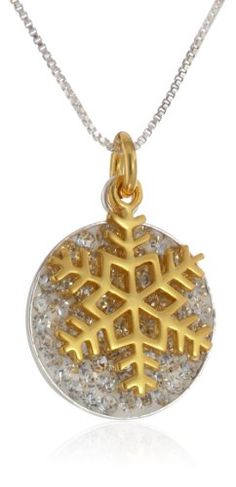 """Sterling Silver with Yellow Gold Flashed Two Piece Pave Crystal Disc with Snowflake Pendant Necklace, 18"""""""