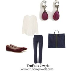 """""""Wearing Statement Earrings Everyday"""": This basic navy and white outfit is no longer basic, with the addition of the eye-catching cranberry glass and faux diamond dangling earrings. I've added shoes in a similar color for balance."""