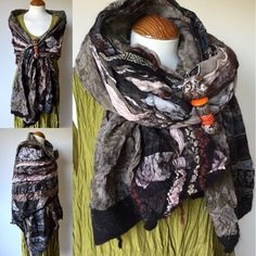 handmade brown beige rust black grey nuno felted wool silk viscose scarf shawl   Clothes, Shoes & Accessories, Women's Accessories, Scarves & Shawls   eBay!