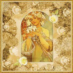 by Alphonse Mucha. Of Wallpaper, Pattern Wallpaper, Prague, Art Nouveau Poster, Doodle Inspiration, Alphonse Mucha, 3 Arts, Love Pictures, Beautiful Artwork