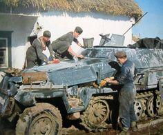 German WW2 Half track APC Sd.Kfz. 251 1 Ausf.C Hanomag in Ukraine, in 1943.