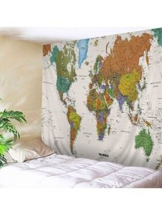 Wall Hanging Art World Map Print Tapestry . great as an inspiration for an inquisitive child. Inspire Me Home Decor, Tree Tapestry, World Map Tapestry, Tapestry Nature, Tapestry Beach, Canvas Wall Art, Wall Art Prints, Cheap Wall Tapestries, Wall Maps