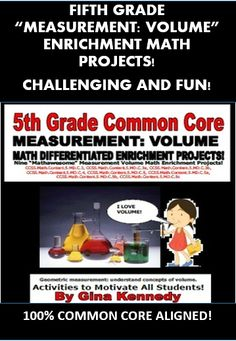 """FUN CREATIVE 5TH GRADE COMMON CORE VOLUME ENRICHMENT PROJECTS! This is a must have for any 5th grade common core classroom. Nine creative differentiated """"MEASUREMENT: VOLUME"""" math projects that correlate with the following standards:   CCSS.Math.Content.5.MD.C.3, CCSS.Math.Content.5.MD.C.3a, CCSS.Math.Content.5.MD.C.3b, CCSS.Math.Content.5.MD.C.4, CCSS.Math.Content.5.MD.C.5, CCSS.Math.Content.5.MD.C.5a, CCSS.Math.Content.5.MD.C.5b, CCSS.Math.Content.5.MD.C.5c"""