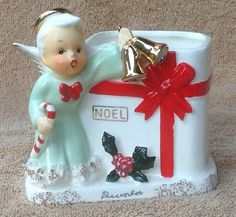 Vtg 1950's Napco December Christmas Angel Planter Bells Candy Cane in Orig Box | eBay