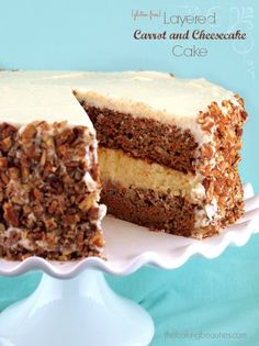 This Gluten Free Layered Carrot and Cheesecake Cake consists of two moist gluten-free carrot cakes sandwiching a tangy baked cheesecake. Covered in cream cheese frosting, this cake is nothing short of amazing.