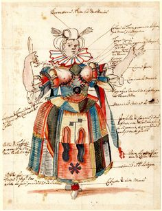Stefano della Bella (Italian, 1610-1664). Costume study for a female fool, formerly in an album; standing to front with arms extended, wearing a brightly coloured dress, holding a knife(?) in her right hand Pen and brown ink, with watercolour and bodycolour, heightened with gold, over graphite, 1625-1664. © The Trustees of the British Museum.