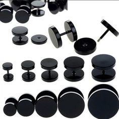 Black Stainless Steel Fake Cheater Ear Plugs Gauge Body Jewelry Piercing Earring For Men Ear Studs Cartilage Jewelry, Daith Earrings, Black Stud Earrings, Fake Plugs, Gauges Plugs, Ear Tunnels, Tunnels And Plugs, Piercing Helix, Body Piercing