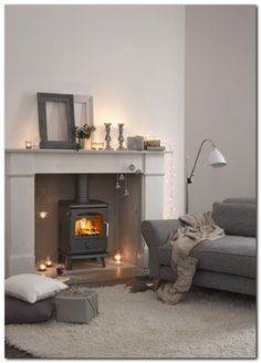 Morso Badger 3112 Stove grey soft white cushions and rug. Can add pale pastel pink colour accent Living Dining Room, Home And Living, Living Room Designs, Home Living Room, Log Burner Living Room, Living Room Grey, House Interior, Room, Room Design