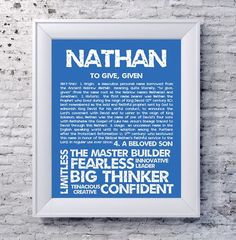 NATHAN Personalized Name Print / Typography Print / Detailed Name Definitions / Numerology-calculated Destiny Traits / Educational