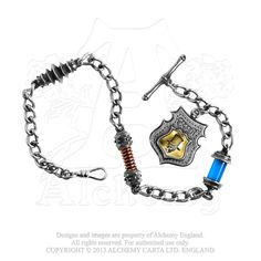 """AWC1 - Rosenstein's Scrap Yard Fob Chain. An eco-efficient 12"""" chain of defunct and outmoded components from the work-yards of EER, complete with Albert swivel, T-bar and cameo fob of the great man himself.   Approximate Dimensions: Width 1.02"""" x Height 1.38"""" x Depth 0.47"""" - Contact Tri De Dana for Pricing Details: info@tridedana.com"""