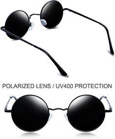 fe80ddcb4812 Amazon.com  Joopin-Round Retro Polaroid Sunglasses Driving Polarized Glasses  Men Steampunk (Black