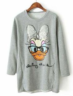 Grey Long Sleeve Duck Print Sequined Sweatshirt