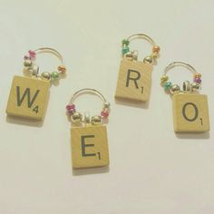 Scrabble Wine Charms Wine Charms Set Wine Gift by ElleSeaCreations
