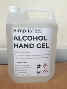 Simplis 70% Alcohol Hand Sanitiser Gel 5 Litre bottles of Alcohol Hand Gel which can be used to refill your sanitiser dispensers. The gel is made up of a 70% alcohol formulation to destroy disease causing pathogens including Covid-19. The post Simplis 70% Alcohol Hand Sanitiser Gel appeared first on The Access Panel Company. Access Panel, Hand Sanitizer, Bottles, Alcohol, Hands, Rubbing Alcohol, Liquor