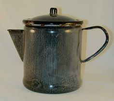 Antique Agateware or Graniteware Milk or Water Pitcher Lift-off Lid