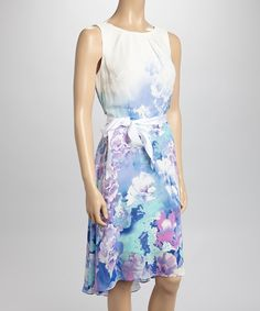 Look at this #zulilyfind! SL Fashions Ivory & Blue Floral Sleeveless Dress by SL Fashions #zulilyfinds