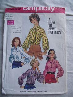 1969 SIMPLICITY Blouse Pattern 8299Size 10 by KathysRetroKorner