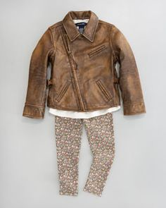 -3W1V Ralph Lauren Childrenswear Leather Motorcycle Jacket, Boho Top & Floral Leggings
