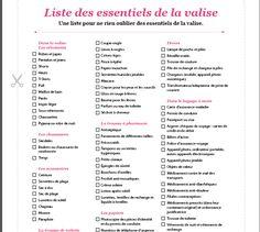 Liste des essentiels de la valise