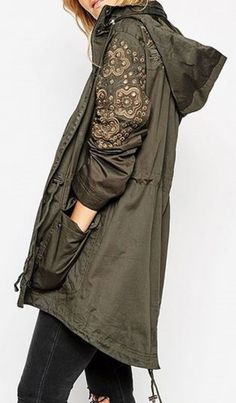 Army Green Floral Embroidery Hooded Trench Coat