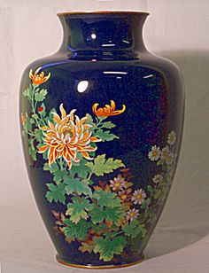 Japanese cloisonne enamel vase with chrysanthemums