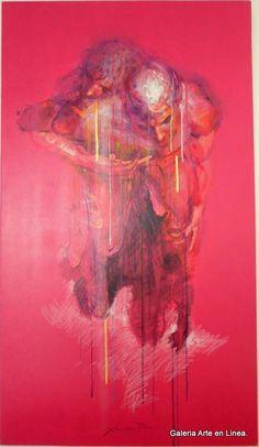 Abrazame - Xolotl Polo  Categoría: Pintura.Técnica: Acrilico y oro de 24 kilates sobre lienzo. Fondo CoralMedidas: 140 x 80 cms.Fecha: 2014.Enmarcada: No. Firmada: Si